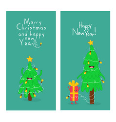 christmas trees and giftbox are congratulated on vector image