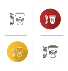 coffee to go with sugar sachetsicon vector image