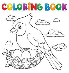 coloring book bird topic 3 vector image