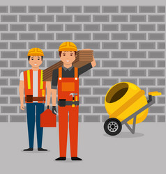 construction workers wooden board toolkit and vector image