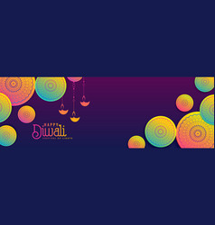 Creative diwali banner background in vibrant vector