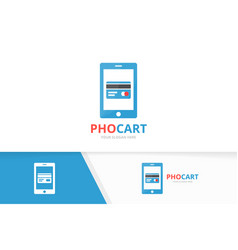 Credit card and phone logo combination vector