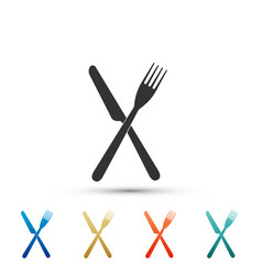 Crossed fork and knife icon on white background vector