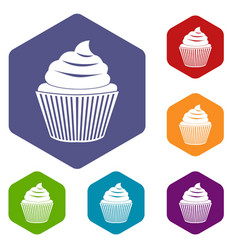 Cupcake icons set hexagon vector