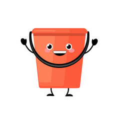 cute cartoon plastic red bucket character vector image