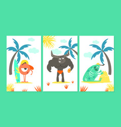 cute monsters cartoon characters at summer vector image