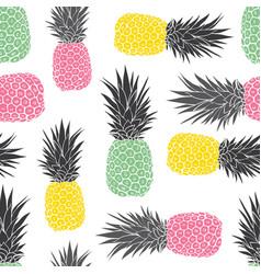 Cute pastel geometric pineapples pattern vector