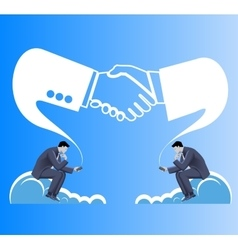 Deals are made in cloud business concept vector