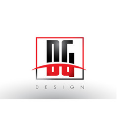 Dg d g logo letters with red and black colors and vector