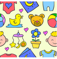 Doodle of baby set object collection vector