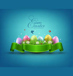 easter eggs with grass and flowers in green vector image