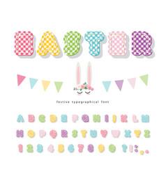 Easter plaid font colorful textile alphabet cute vector
