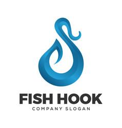 fish hook logo design vector image