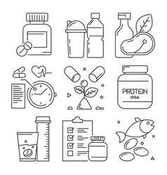fitness dietary icons sport activities food vector image