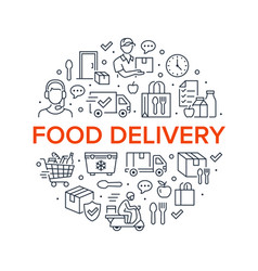 food delivery circle poster with line icons vector image