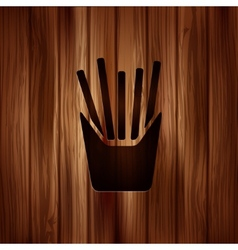 Fried potatoes icon Wooden background vector image