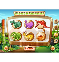 Game template with dinosaur characters vector