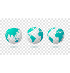 globe earth world map 3d blue transparent vector image
