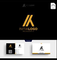 Gold luxury initial k or ka logo template vector