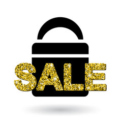 Gold sale text on bag design vector
