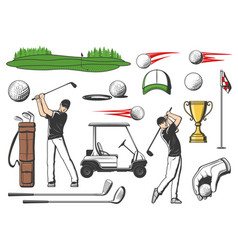 Golfer and golf club sport items equipment icons vector