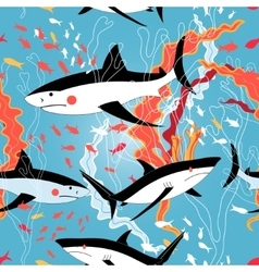 Graphic pattern of swimming sharks vector image