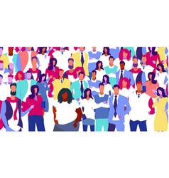 Group mix race people big crowd men women vector