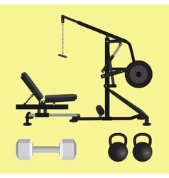 Gym equipment with dumbell kettlebell and lat pull vector