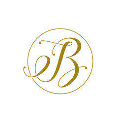 Handwritten i b or b letter logo with circle line vector