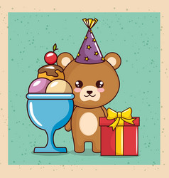happy birthday card with cute bear vector image