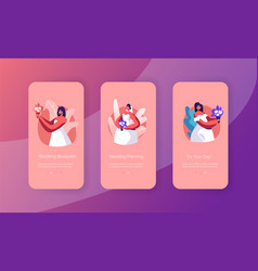 happy bride hold bouquet mobile app page vector image