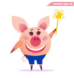 happy pig with magic wand vector image