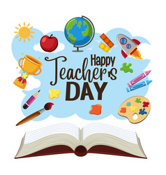 Happy world teachers day logo with student items vector