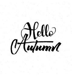 Hello Autumn - calligraphic lettering badge label vector image