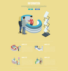 Information and help desk isometric poster vector