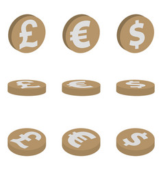 isometric icons of coins dollar euro pound vector image