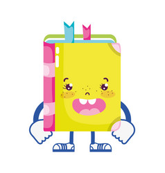 Kawaii happy book with arms and legs vector