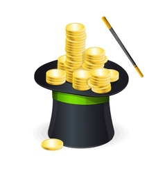 Magic hat and gold coins vector image