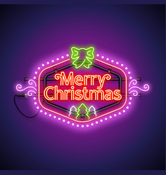 merry christmas neon sign violet vector image