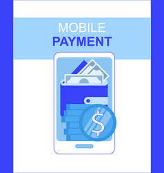 mobile phone payment app with money wallet screen vector image