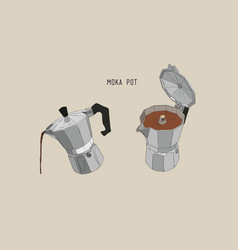 Moka pot coffee brewing sketh vector