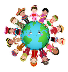 multicultural children holding hand around the vector image