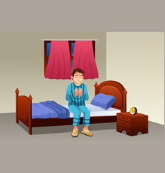 Muslim man praying before going to bed vector