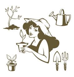 My garden gardening tools and beaty farmer girl vector