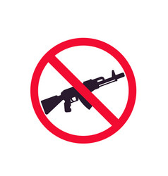 no guns sign with automatic rifle vector image
