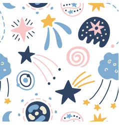 outer space childish seamless pattern vector image