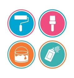 Painting roller brush icon Spray and Paint can vector
