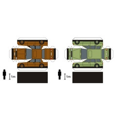 Paper models two cars vector