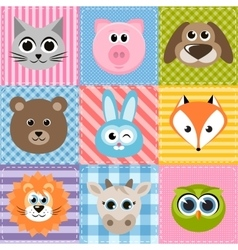 Patchwork background with animals vector
