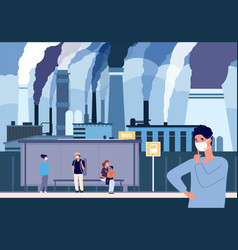 people in dust masks bus stop near factories vector image